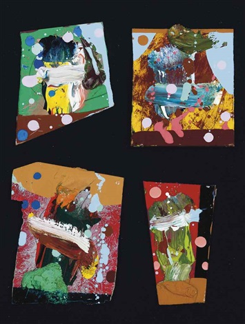 untitled (500 paintings for witte de with) (set of 4 works) by fiona rae