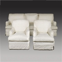 large triple seat sofa and armchairs (set of 3) by howard & sons