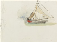 study of a sailboat by eugène delacroix