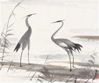 双鹭图 立轴 设色纸本 (bird) by lin fengmian