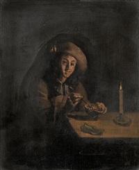 mann mit feuerschale in interieur by pieter cornelisz van slingeland