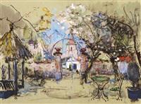a view of a garden by adrien jean le mayeur de merprés
