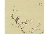 white plum and bird by kayo yamaguchi