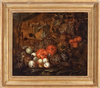 still life of grapes, pears, peaches and flowers by abraham mignon