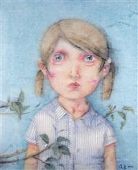 蓝色女生 镜框 设色纸本 by zeng jianyong