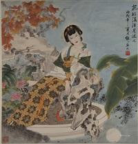 花好溪清月近人 镜心 纸本 by xiang weiren