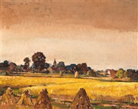 korenvelden en dorp by joseph (jos) tysmans