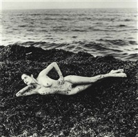 nude in seaweed, (from private property) suite i by helmut newton