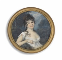 a young lady, seated in a woodland, in white dress with jewel at her sleeve, tortoiseshell comb in her dark curling hair by anton graff