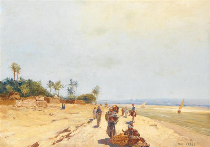promeneurs au bord du nil by max friedrich rabes