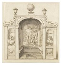 a design for a garden house, decorated with marble busts, a mythological painting and a terrestrial globe on the roof; two figures withhin an architectural setting (2 works) by sir james thornhill
