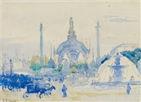 la porte principale de l'exposition universelle de, place de la concorde, paris by henri edmond cross