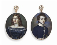 a pair of miniatures: a young officer in white-bordered blue uniform with white collar; together with a young lady, probably his wife, in black silk dress with white lace collar (2 works) by johannes baptista van acker