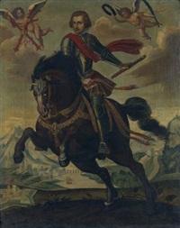 portrait d'un prince espagnol à cheval, en armure, portant l'ordre de la toison d'or by hispano-flemish school (17)