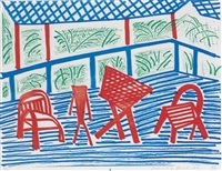 two red chairs and table, march by david hockney