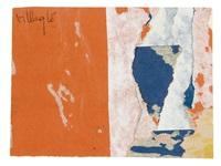 mi-partie orange by jacques villeglé