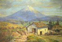 south american farm buildings with large snow-capped mountain in background by emilio moncayo
