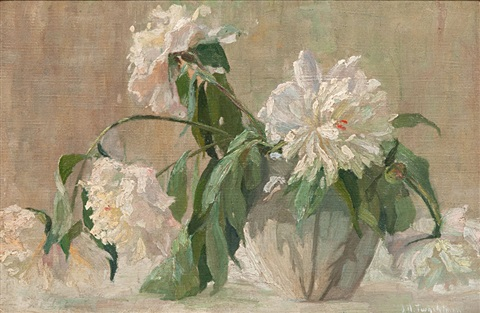flowers in a vase by john henry twachtman