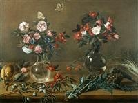 stilleben mit blumenvasen; artischocken und obst by astolfo petrazzi