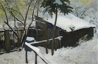 schuppen in verschneiter winterlandschaft by paul leuteritz