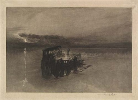 a timber raft on the rhine by frank short