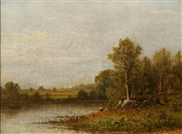 fisherman by a river, spring by charles wilson knapp