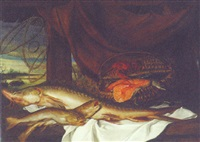 a catfish and trout on a partially draped table by slices of salmon, a lobster and other fish in a creel by alexander adriaenssen the younger