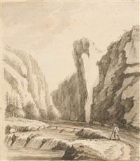 wanderer in einem schweizer gebirgstal by johann rudolf koller