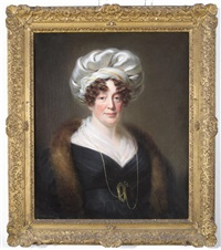 portrait of a lady, half length wearing a turban and a fur stole by william jnr. patten