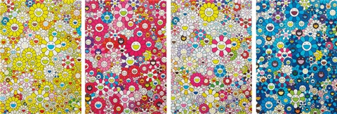 an homage to ikb d1957 an homage to mangoldd an homage to monopink 1960 d and an homage to yves klein multicolor d 4 works by takashi murakami