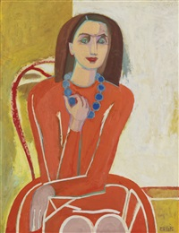 study for self-portrait in orange with blue necklace by françoise gilot