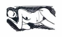 monica lying in scribbles by tom wesselmann