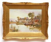 river scenes with bridges; boats and figures (2 works) by walter stuart lloyd