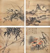 山水花卉斗方 (set of 4) by song nian