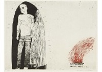 marries an old maid (from a rake's progress) by david hockney