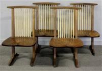 conoid dining chairs (set of 4) by mira nakashima-yarnall