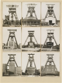 fördertürme (in 9 parts) by bernd and hilla becher