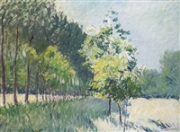 allée bordée d'arbres by gustave caillebotte