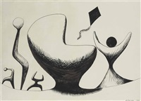signed and dated a. calder (lower right) by alexander calder