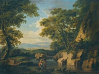 a mountainous wooded landscape with figures by a river in the foreground by george barret