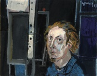zelfportret in het atelier by godfried vervisch