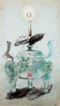 oriental vessel with candle by morris graves