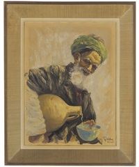 old man in a turban by ali chitsaz