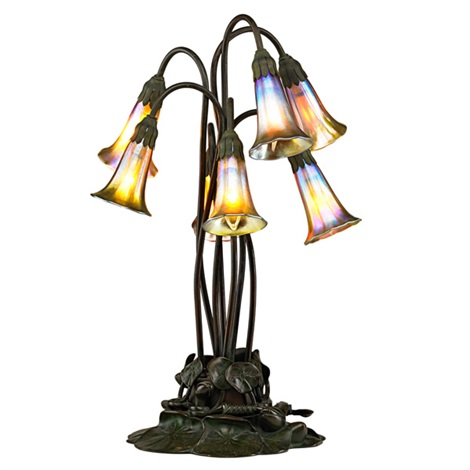 seven lily table lamp by tiffany studios