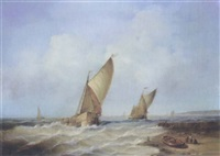 merchant ships off the coast by jean laurent