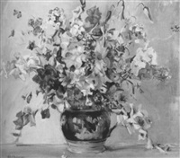 floral still life in pink and purple by ruth a. (temple) anderson