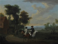 riders on a country road, and another similar (pair) by peter tillemans