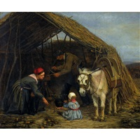 familie in einer strohhütte by charles edouard frère