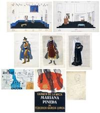 decorados, figurines, estudio para un telón y original del cartel de mariana pineda de federico garcia lorco, retrato de regina sainz de la maza (8 works) by josé luis caballero