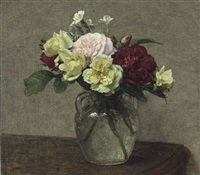 bouquet de roses variées et œillets by henri fantin-latour